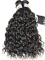 Virgin Brazilian Natural Color Hair Weaves Water Wave Hair Extensions 3 Pieces Black