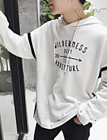 Men's Casual/Daily Hoodie Print Letter Hooded Micro-elastic Cotton Polyester Long Sleeve Fall
