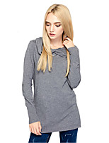 Women's Going out Simple Street chic Regular PulloverSolid Hooded Long Sleeves Cotton Nylon Fall Winter Thin Micro-elastic
