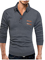 Men's Casual/Daily Simple Regular Pullover,Solid Shirt Collar Long Sleeves Cotton Acrylic Fall Medium Micro-elastic