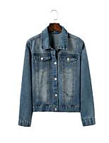 Giacca di jeans Da donna Per uscire Casual Semplice Primavera Autunno,Tinta unita Con stampe Colletto Cotone Standard Manica lunga
