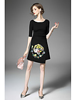 Women's Casual/Daily Cute Fall T-shirt Skirt Suits,Print Round Neck Half Sleeves Micro-elastic