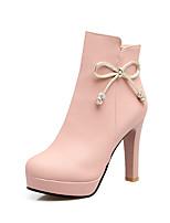 Feminino Sapatos Courino Outono Inverno Botas da Moda Curta/Ankle Botas Salto Agulha Ponta Redonda Botas Curtas / Ankle Laço Ziper Para