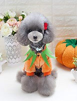 Cat Dog Costume Clothes/Jumpsuit Pajamas Dog Clothes Party Cosplay Keep Warm Halloween Christmas New Year's Pumpkin Yellow