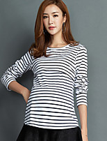 Women's Work Simple Fall T-shirtStriped Round Neck Long Sleeves Cotton Medium