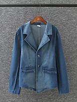 Women's Going out Casual/Daily Simple Active Street chic Spring Fall Denim Jacket,Solid Peaked Lapel Long Sleeve Regular Cotton Others