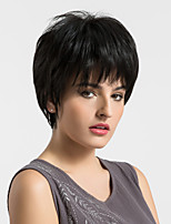 Women Human Hair Capless Wigs Black Short Straight