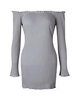 Damen Bodycon Kleid-Lässig/Alltäglich Klub Sexy Street Schick Solide Bateau Mini Langarm Polyester Frühling Herbst Mittlere Hüfthöhe