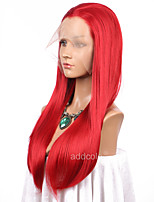 Women Synthetic Wig Lace Front Long Straight Red Natural Hairline Cosplay Wig Natural Wigs Costume Wig