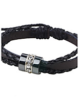 Men's Leather Bracelet Fashion Adjustable Leather Round Tube Jewelry For Casual Going out