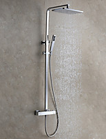 Contemporary Modern Style Wall Mounted Rainfall Rain Shower Handshower Included with  Ceramic Valve Chrome , Shower Faucet
