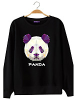 Men's Casual/Daily Sweatshirt Solid Print Round Neck Micro-elastic Cotton Polyester Long Sleeve All Seasons
