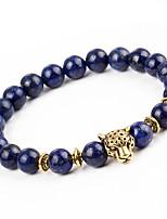 Homme Femme Bracelets de rive Bracelet Onyx Naturel Mode Alliage Forme Ronde Léopard Bijoux Pour Vacances