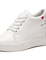 Da donna Scarpe Gomma Autunno Comoda Sneakers Piatto Punta tonda Lacci Per Bianco Nero