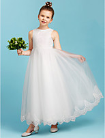 A-Line Princess Crew Neck Ankle Length Lace Tulle Junior Bridesmaid Dress with Bow(s) by LAN TING BRIDE®