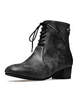 Women's Shoes Leatherette Fall Winter Fashion Boots Bootie Boots Chunky Heel Square Toe Booties/Ankle Boots Zipper Lace-up For Casual