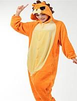 Kigurumi Pajamas Lion Festival/Holiday Animal Sleepwear Halloween Orange Fashion Embroidered Flannel Fabric Cosplay Costumes Kigurumi For