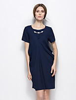 Women's Plus Size Simple Shift Dress,Solid Round Neck Knee-length Short Sleeves Polyester Summer Mid Rise Micro-elastic Medium