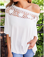 Women's Casual/Daily Sexy T-shirt,Solid Off Shoulder Half Sleeves Polyester