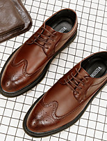 Men's Shoes Leather Fall Winter Formal Shoes Oxfords Lace-up For Wedding Party & Evening Black Gray Brown