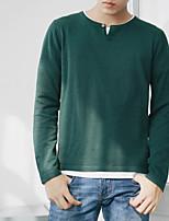 Herren Standard Pullover-Ausgehen Einfarbig Rundhalsausschnitt Langarm Andere Frühling Winter Mittel Mikro-elastisch