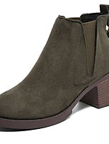 Women's Shoes Cashmere Fall Combat Boots Boots Chunky Heel Round Toe Zipper For Casual Dark Green Gray Black