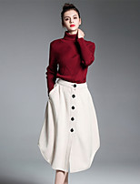 ZIYI Women's Casual/Daily Work Simple Spring Fall Winter Shirt Skirt Suits,Solid Turtleneck Long Sleeve Micro-elastic