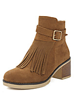 Women's Shoes Leatherette Winter Bootie Boots Chunky Heel Round Toe Booties/Ankle Boots Buckle Zipper Tassel For Casual Dress Light Brown