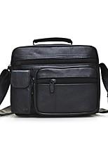 Men Bags All Seasons Sheepskin Shoulder Bag Zipper for Outdoor Black