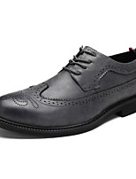 Men's Shoes Real Leather Oxford PU Cowhide Leather Spring Fall Formal Shoes Comfort Oxfords Lace-up For Casual Office & Career Dark Brown