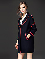 FRMZ Women's Going out Casual/Daily Street chic Fall Winter Coat,Color Block Notch Lapel Long Sleeve Long Others