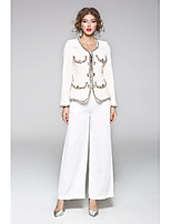 JOJO HANS Women's Going out Casual/Daily Street chic Spring Fall CoatSolid Geometric Round Neck Long Sleeve Regular Polyester