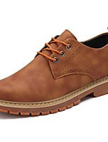 Men's Shoes PU Winter Light Soles Oxfords Lace-up For Casual Khaki Brown Black