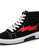 Men's Shoes Fabric Summer Fall Comfort Sneakers Lace-up For Casual Outdoor Black/Red Black/White Black/Gold