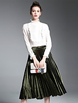 ZIYI Women's Casual/Daily Work Simple Spring Fall Winter Shirt Skirt Suits,Color Block Stand Long Sleeve Micro-elastic