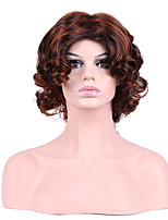 Women Synthetic Wig Capless Short Curly Brown Highlighted/Balayage Hair Layered Haircut Party Wig Halloween Wig Natural Wigs Costume Wig