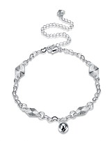 Women's Anklet/Bracelet Silver Plated Fashion Vintage Punk Personalized Hypoallergenic Flower Geometric Irregular Jewelry For Gift Daily