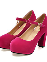 Women's Shoes Nubuck leather Spring Fall Comfort Novelty Heels Chunky Heel Round Toe Rivet Buckle For Office & Career Dress Almond