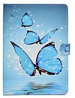 Недорогие -Назначение iPad (2017) Чехлы панели Бумажник для карт со стендом Флип С узором Магнитный Чехол Кейс для Бабочка Твердый Искусственная кожа
