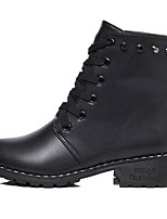 Women's Shoes PU Fall Combat Boots Boots Low Heel Round Toe Lace-up For Casual Black