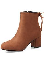 Feminino Sapatos Pele Nobuck Courino Outono Inverno Botas da Moda Curta/Ankle Botas Salto Grosso Dedo Fechado Botas Curtas / Ankle Laço