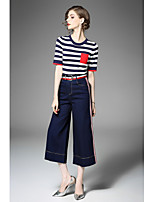 Women's Going out Street chic Fall T-shirt Pant Suits,Striped Round Neck Half Sleeves Micro-elastic
