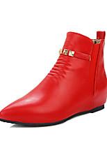 Feminino Sapatos Courino Inverno Conforto Curta/Ankle Botas Salto Baixo Dedo Apontado Botas Curtas / Ankle Tachas Fru-Fru Para Casual