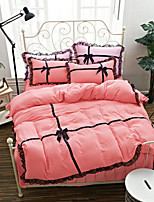 Duvet Cover Sets Floral 4 Piece Polyester Yarn Dyed Polyester 1pc Duvet Cover 2pcs Shams 1pc Flat Sheet