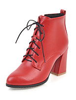 Women's Shoes Leatherette Fall Winter Fashion Boots Bootie Boots Chunky Heel Pointed Toe Booties/Ankle Boots Zipper Lace-up For Casual