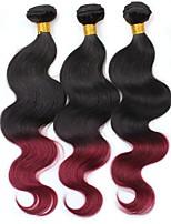 economico -3 pezzi Nero / vino scuro Ondulato naturale Peruviano Tessiture capelli umani Extensions per capelli