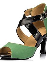 Women's Latin Satin Sandal Performance Criss-Cross Cuban Heel Dark Green 2