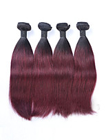 4Pcs/lot 400g 12-26inch Unprocessed Brazilian Virgin Straight Human Hair Two Tone 1b/99J# Ombre Wine Red Hair Weaves