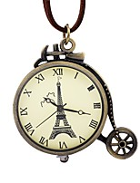 Men's Women's Pocket Watch Chinese Mechanical manual-winding Hollow Engraving Large Dial Leather Band Vintage Eiffel Tower Brown