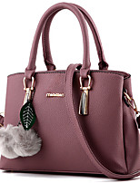 Women Bags All Seasons PU Tote Feathers / Fur for Office & Career Outdoor Blushing Pink Drak Red Gray Purple Wine